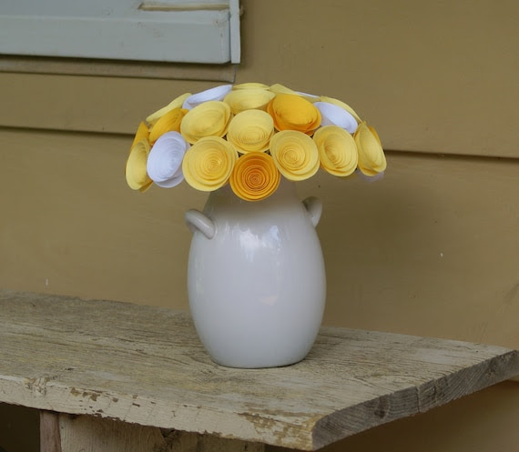 Yellow Bridal Bouquet with Paper Flowers in Lemon Yellow, Golden Yellow and White