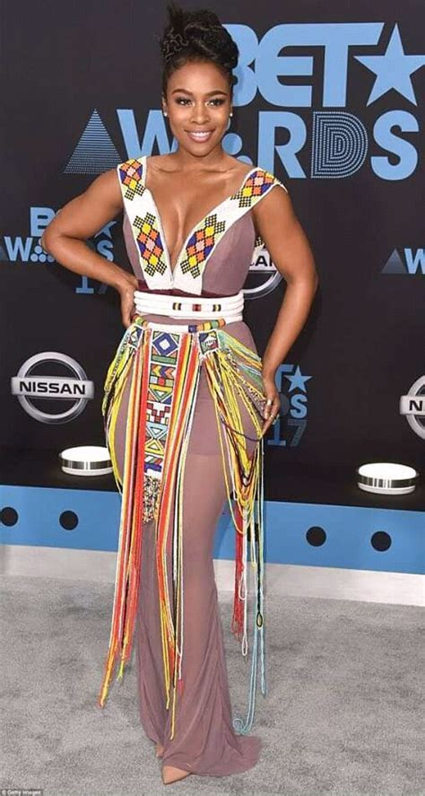 Nomzamo Mbatha in Brown Dress with Zulu Beaded Details