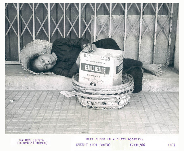 1966 Saigon Siesta Poor Woman Deep Sleep in a Dusty Doorway Basket