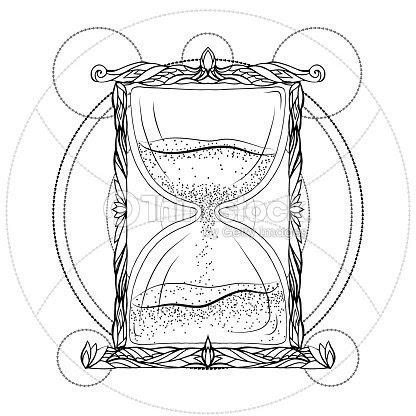 Ilustración Blanco Y Negro De Un Reloj De Arena Con Un Patrón De