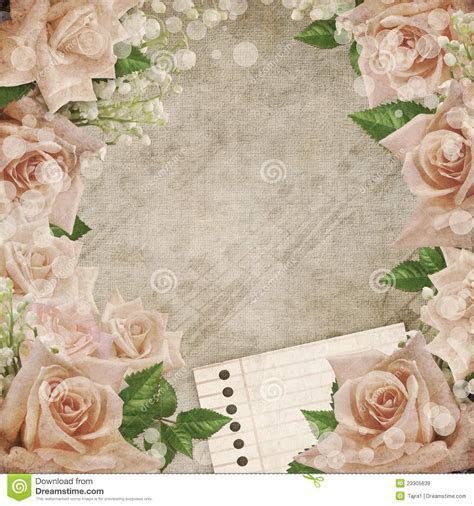 Wedding Vintage Romantic Background Ith Roses Stock