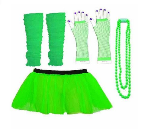 Four Piece Adult Neon Green Tutu Set Tutu Legwarmers Fishnet Gloves Beads 80s Fancy Dress Costume