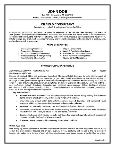 Oilfield-Consultant-Resume-Example-Page-1 | Resume Writing
