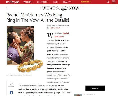 Rachel McAdams's Wedding Ring in The Vow