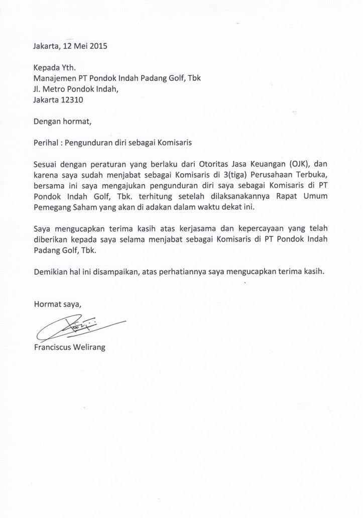 Contoh Surat Pengunduran Diri Dari Komisaris Perusahaan Contoh Surat