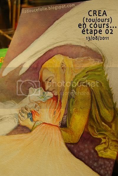 fantasy elfe fae faerie painting wip peinture aquarelle watercolor