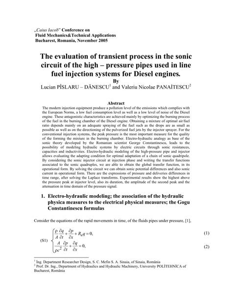 (PDF) Study of transient process in the sonic circuit of