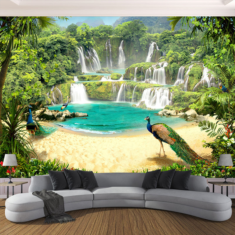 Custom D Wallpaper Murals Waterfall Peacock Lake