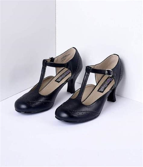 black  strap mary jane kitten heels unique vintage