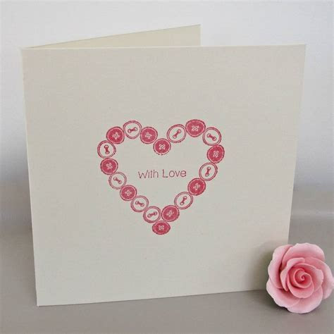 'button' heart handmade anniversary card by chapel cards