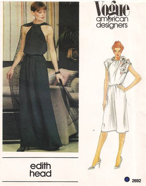 Edith Head Vogue 2692 Evening Dress Pattern Bust 32.5 - Click Image to Close