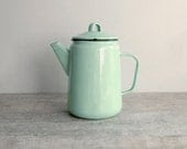 Mint Enamel Coffee Pot - Soviet vintage pitcher - shabby chic enamelware - country kitchen home decor - farmhouse kitchenware - made in USSR - OldTimeGoods