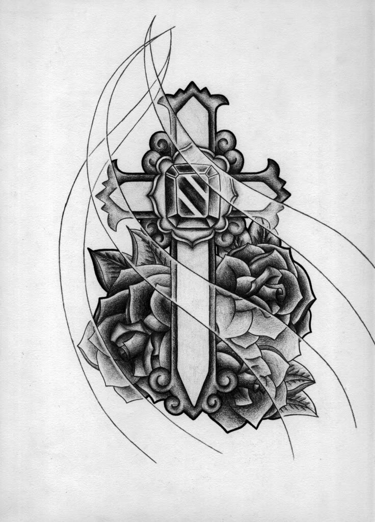 Cross And Roses Tattoo Picture In Black And White Design Tattoomagz