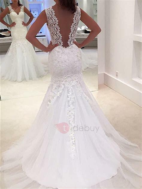 Sheer Back Appliques Mermaid Lace Wedding Dress : Tidebuy.com