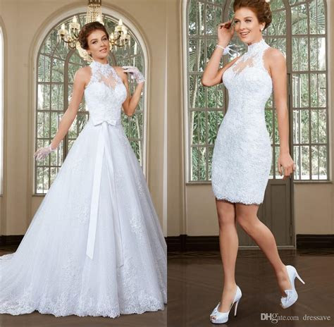 Fabulous High Collar Neckline 2 In 1 Wedding Dresses