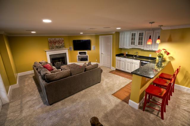 Finished Basement - Malvern - traditional - basement ...