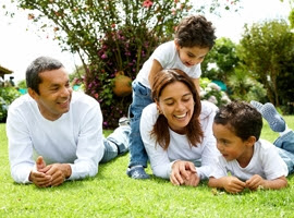Young Latino family of four