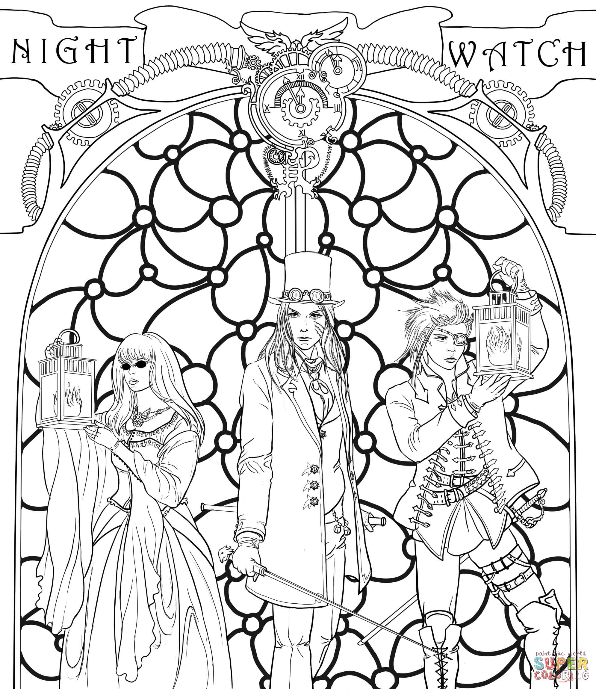 Steampunk Night Watch Crew coloring page | Free Printable ...