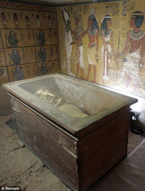 Family home? The stone sarcophagus containing the mummy of King Tut in his underground tomb in the famed Valley of the Kings in Luxor, Egypt