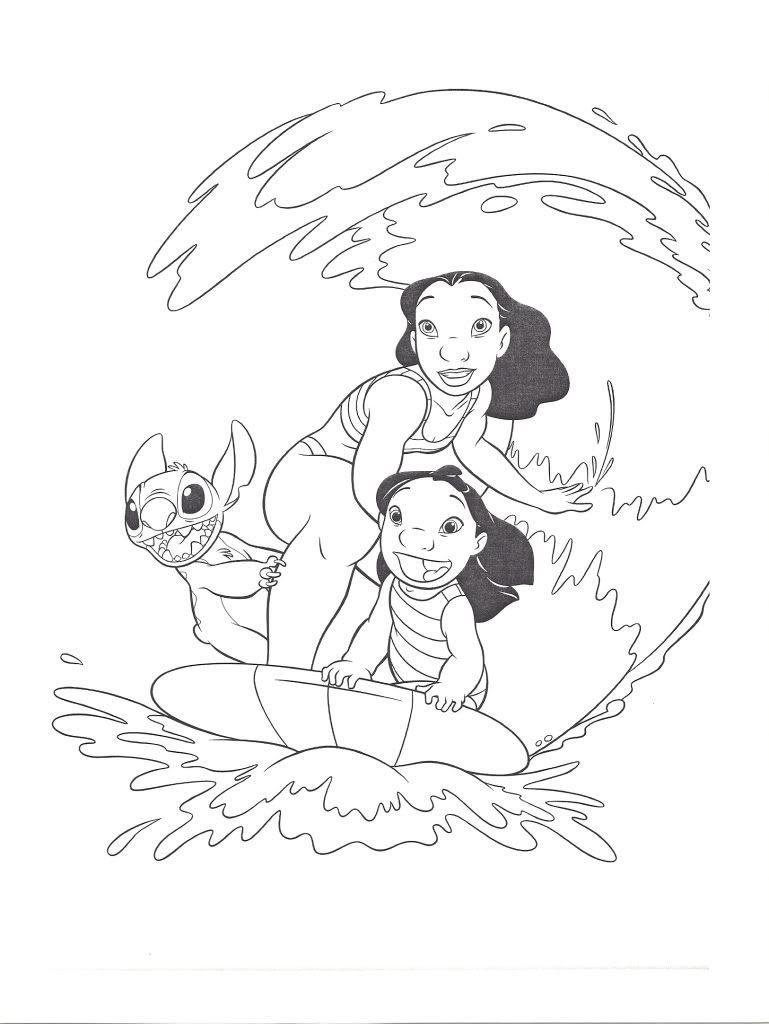 Dibujos Para Colorear De Lilo Y Sus Amigos En El Mar