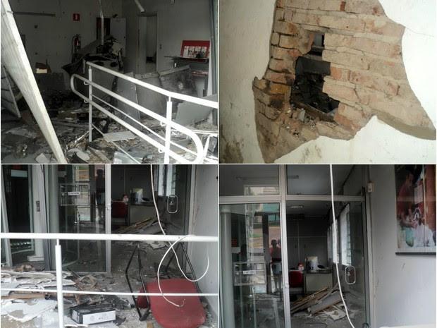 Caixas do banco Santander também foram destruídos em Gavião Peixoto (Foto: Carlos Alberto de Souza/Arquivo pessoal)