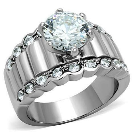 Round Solitaire & Accents CZ Stainless Steel Engagement