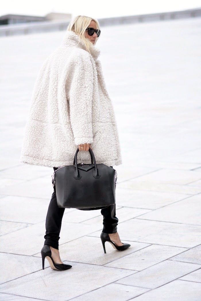 Le Fashion Blog Fall Style White Teddy Coat Givenchy Satchel Black Jeans Dorsay Pumps Via Hippie Hippie Milkshake