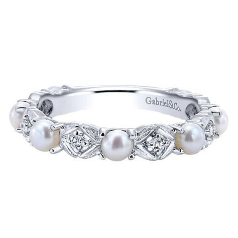 14k White Gold Diamond Pearl Stackable Ladies' Ring