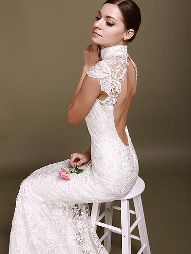 Mini Sleeves Backless MermaidStyle Chapel Train Wedding Dresses 2012