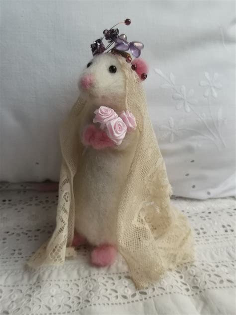 Needle felted little Bride Nancy Mouse on her wedding day