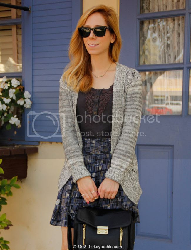 Mossimo gray cardigan and Converse One Star printed skirt