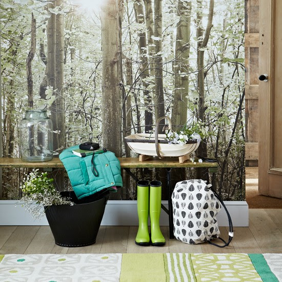 Country hallway with woodland wallpaper | Woodland design room ...