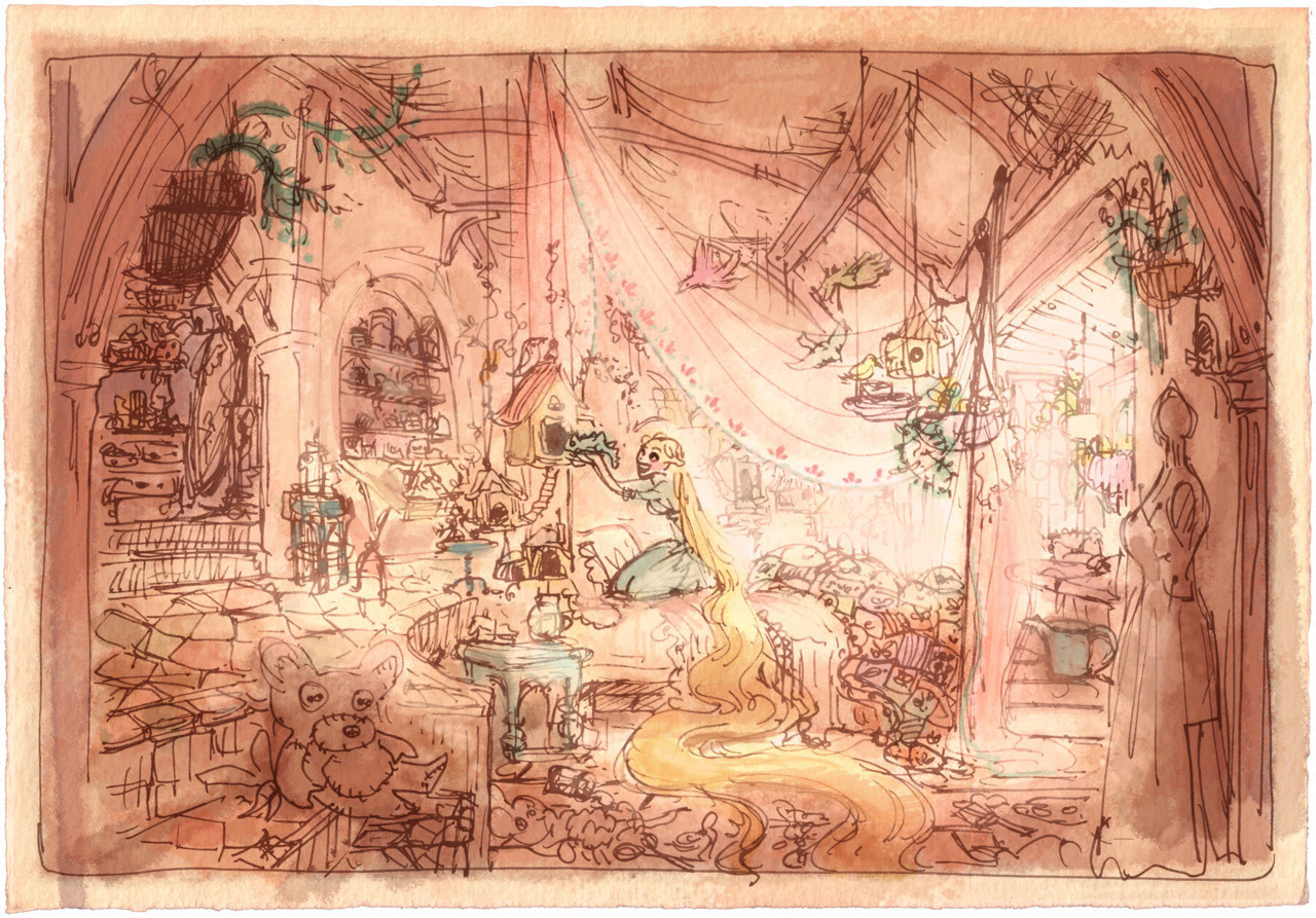 "Rapunzel's Bedroom and Tower concept art Claire Keane | Digital For those familiar with Tangled concept art, none of these lovely digital watercolor paintings are new, but they are among my favorite pieces of concept art. Claire Keane has such a unique style about her work, but what I love most about her artwork is that is very flexible about her style, so that her art has many different looks to it. She can produce these digital watercolors, or amazing digital oil paintings, or real paintings on walls, cellos, or canvases, and she even developed Rapunzel's style of painting (and thus, much of Rapunzel's character). Below are links to to the largest (and best quality) copies of the paintings above that I can find [with their dimensions in brackets]: Rapunzel's Bedroom 005 [2000 x 1392] Rapunzel's Bedroom 003 [2000 x 1395] Rapunzel's Bedroom 002 [1500 x 1576] Rapunzel's Bedroom 001 [2000 x 2090] Rapunzel's Bedroom 006 [2000 x 1635] Fireplace 003 [2000 x 1555] Fireplace 0012 [2000 x 1559] Fireplace 002 [2000 x 1554] Fireplace 004 [2000 x 1635] Source: Screenned.com (hi-res images); except ""Rapunzel's Bedroom 003,"" ""Fireplace 003,"" ""Fireplace 004,"" for which I could not find the original source. I think I got it off of the Disney Canalblog (artofdisneyeng.canalblog.com/), which has since made private, so I uploaded them myself to Flickr. ""Fireplace 0012,"" ""Rapunzel's Bedroom 005,"" ""Rapunzel's Bedroom 006,"" and ""Rapunzel's Bedroom 003"" are also featured in The Art of Tangled, pg 54-55 Names of the images are taken from the original files, which can be seen in the links, except the ones I uploaded myself, which were named as follows: ""ckeanerapzbedroom003"" (""Rapunzel's Bedroom 003""), ""fireplace003"" (""Fireplace 003""), and ""fireplace004"" (""Fireplace 004"")."