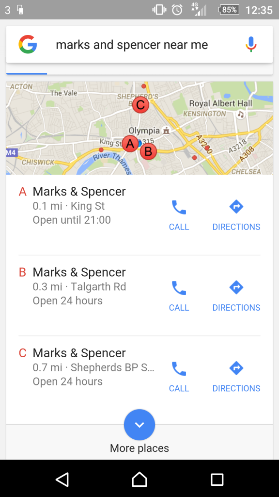 """A mobile screenshot of a Google search for """"Marks and Spencer near me"""", showing the three-pack of local results below a small map of the area."""