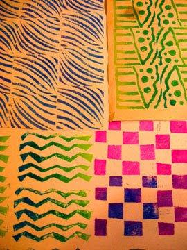 Hand cut linoleum stamps