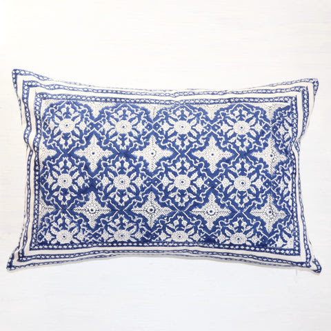 Indigo Hand Block Printed Throw Pillow
