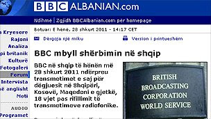 BBC Albanian website - screen grab