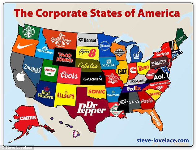Corporate States of America: This map highlights each brand that its creator feels best illustrates the brand most synonymous with that state