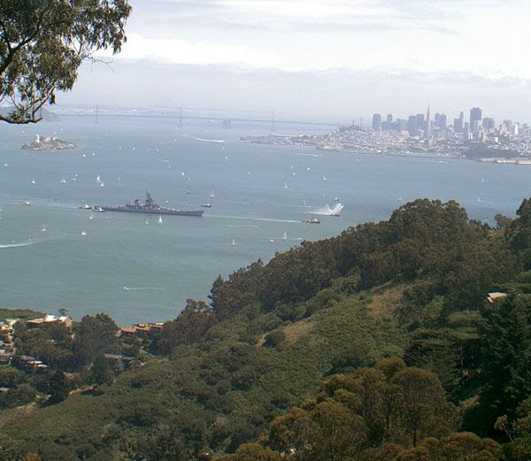 The USS Iowa passes through San Francisco Bay as the battleship embarks on a final trip to SoCal, on May 26, 2012.
