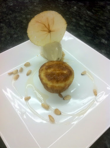 Calvados Baba with Chestnut Ice Cream, Toasted Pine nuts, and Apple Chips