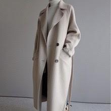 Winter Beige Elegant Wool Coat Women Korean Fashion Black Long Coats