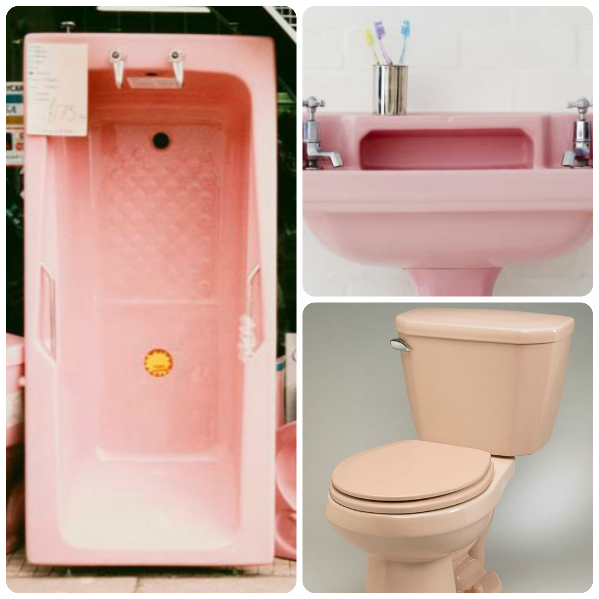 pink bath, sink and toilet
