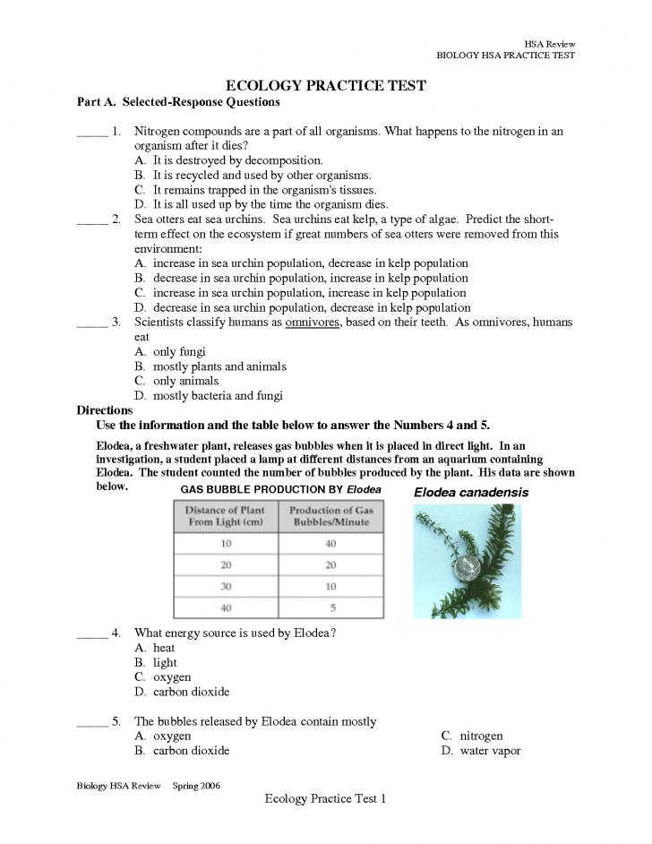 ecology practice test ap biology : Biological Science ...