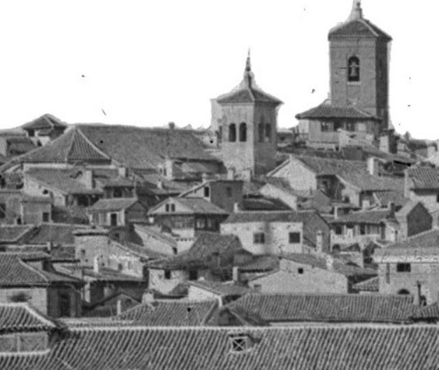 Torre desaparecida de la Iglesia de las Santas Justa y Rufina hacia 1870. Detalle de una Fotografía de Jean Laurent.© Fototeca del IPCE, Negativo 03007
