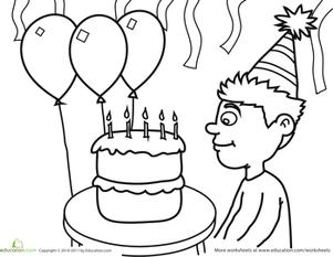 Birthday Coloring: Birthday Boy   Worksheet   Education.com
