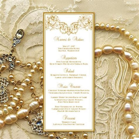 "Printable Wedding Menu Template ""Vienna"" In Gold Microsoft"