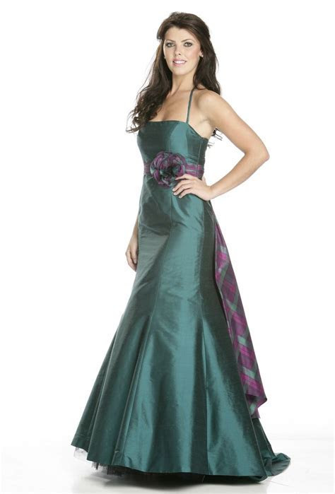 Bridesmaid dress with tartan sash   Quintessentially