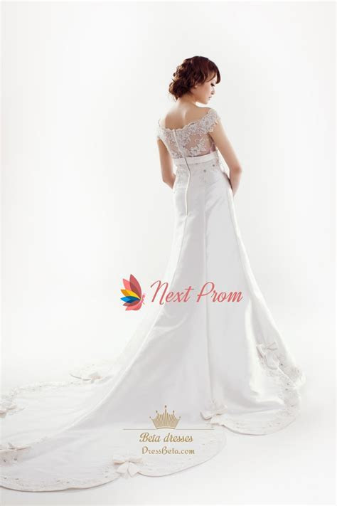 Satin Wedding Dress With Lace Sleeves, Lace Cap Sleeve
