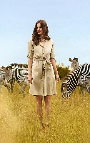 Safari dress, £60, jaeger.co.uk. Snake-print necklace, £145, pebblelondon.com