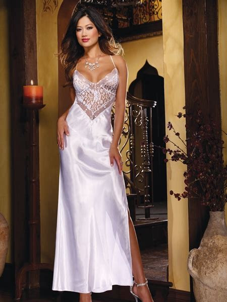 charmeuse  lace sexy gown  pc set